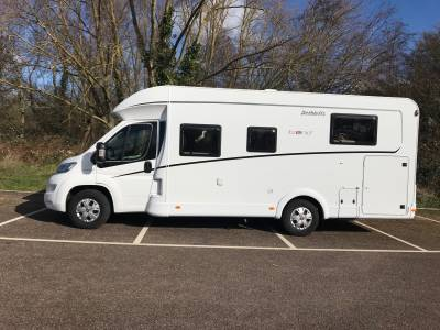 2019 4-berth Dethleffs Trend 7057 DBM motorhome for sale with rear island bed and electric drop down bed